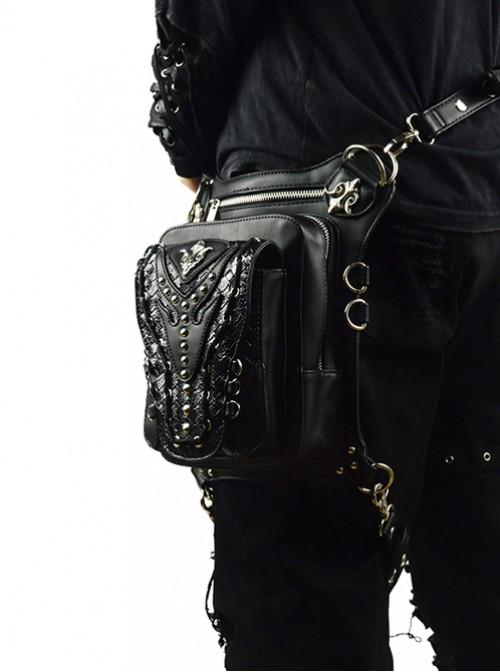 Steam Punk Rivet Chain Black Multi-function Outdoors Men's Inclined Shoulder Bag