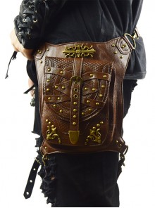 Steam Punk Rivet Dark Brown Multi-function Outdoors Men's Inclined Shoulder Bag