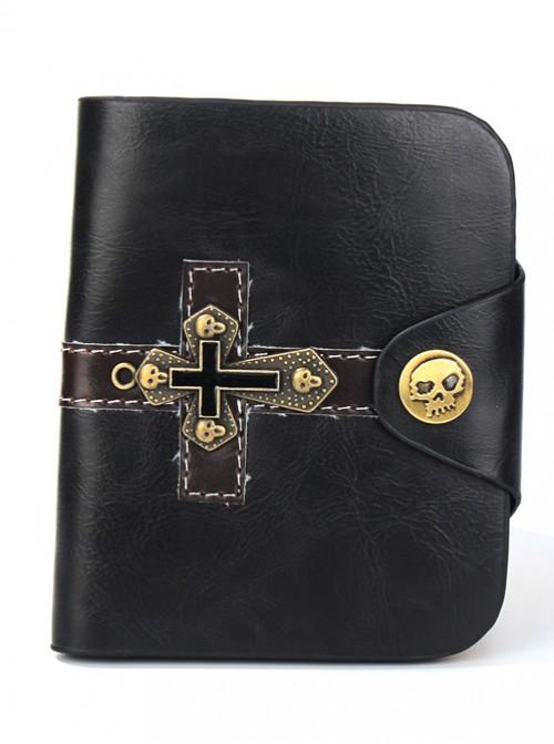 Steam Punk Gothic Retro Cross And Skull Design Brown Short Wallet