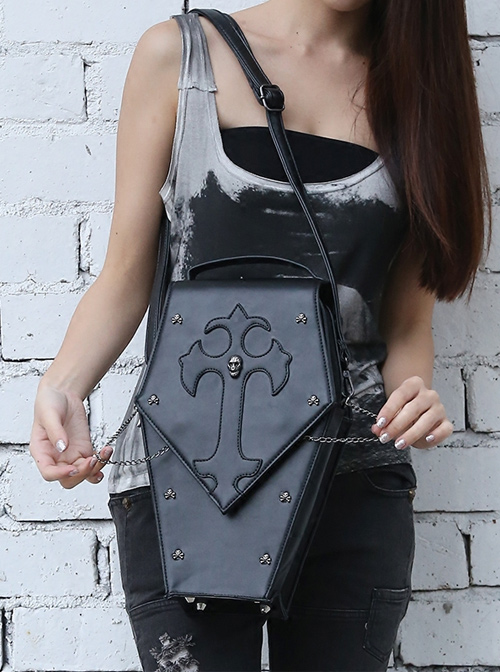Punk Gothic Cross Skull Rivet Multi-function Black PU Bag