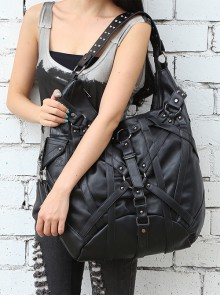Steam Punk Rock Style Rivet Black Big Single Shoulder Bag