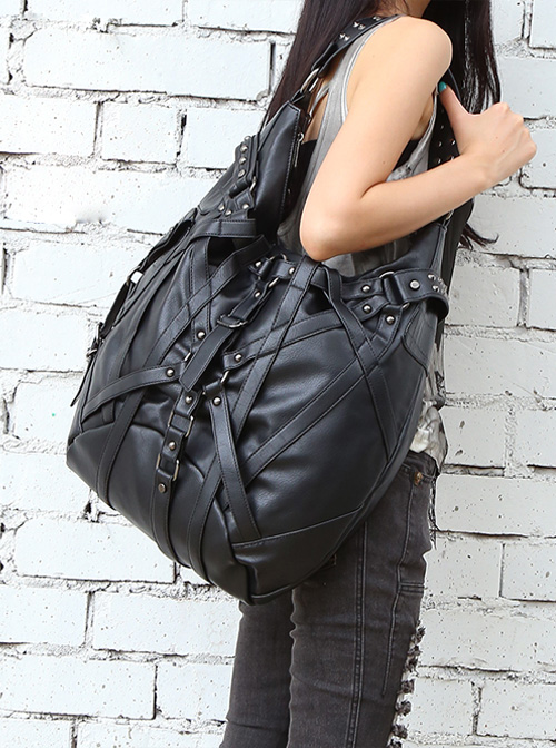 Steam Punk Rock Style Rivet Black Big Single Shoulder Bag