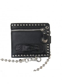 Steam Punk Rock Style Crocodile Head Chain PU Wallet