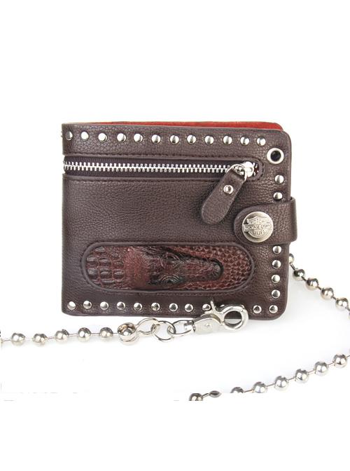 Steam Punk Rock Style Crocodile Head Chain PU Wallet