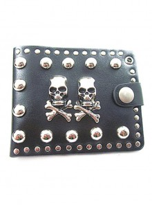 Steam Punk Rock Style Retro Skull Rivet Black PU Wallet