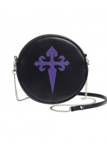Punk Gothic Retro Purple Cross Black Single Shoulder Bag