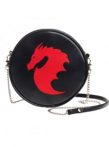 Punk Red Dragon Pattern Black Shoulder Bag Inclined Bag