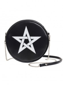Gothic White Pentagram Black Shoulder Bag Inclined Bag