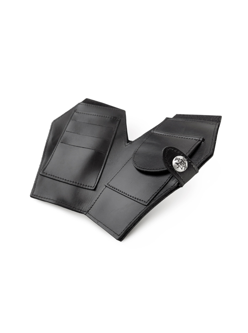 Pure Black Cow Leather Gothic Coffin Shape Wallet