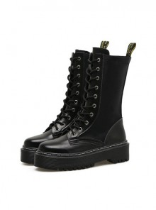 Punk Black High-top Thick Sole Round-toe Zipper Women's Middle Barrel Boots