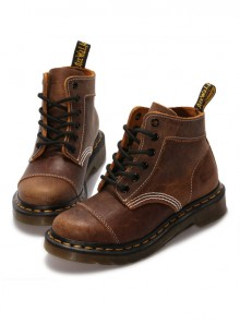 Steam Punk Retro Crack Leather Women's Brown Martin Boots