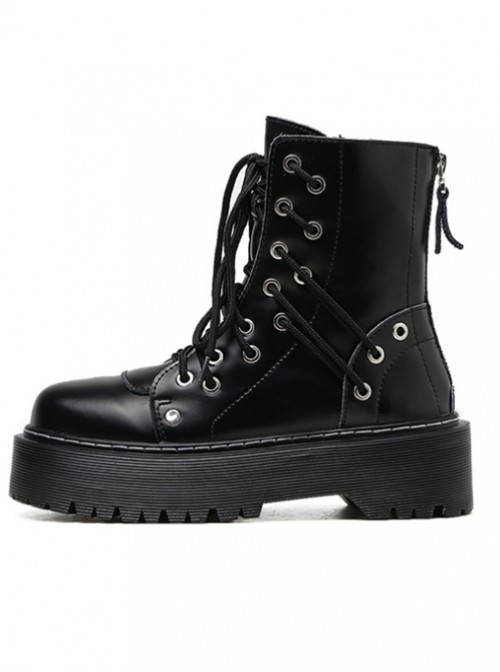 Punk Gothic Black Zipper Thick Sole Womens Leather Round-toe Martin Boots