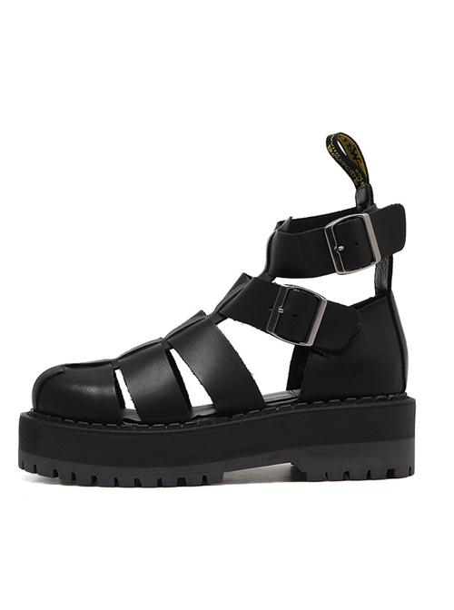 Harajuku Pure Black Thick Soles Leather Roman Sandals