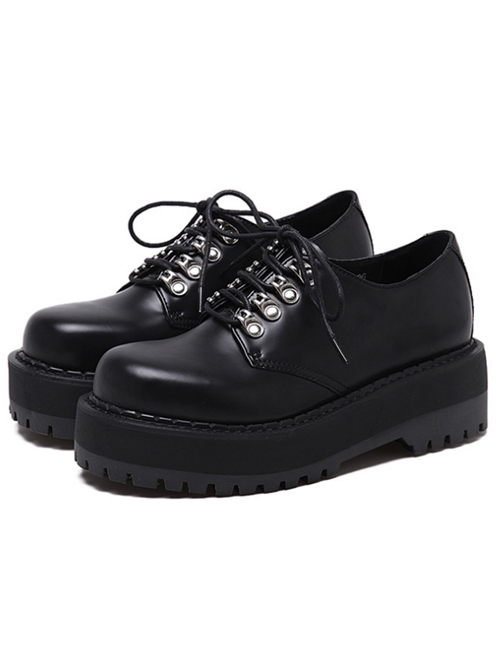 Gothic Pure Black Lace-up Thick Sole Womens Mid-heel Platform Shoes