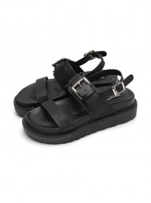 Retro Black Gothic Thick Bottom Rome Sandals