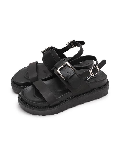 Retro Black Gothic Thick Bottom Rome Sandals