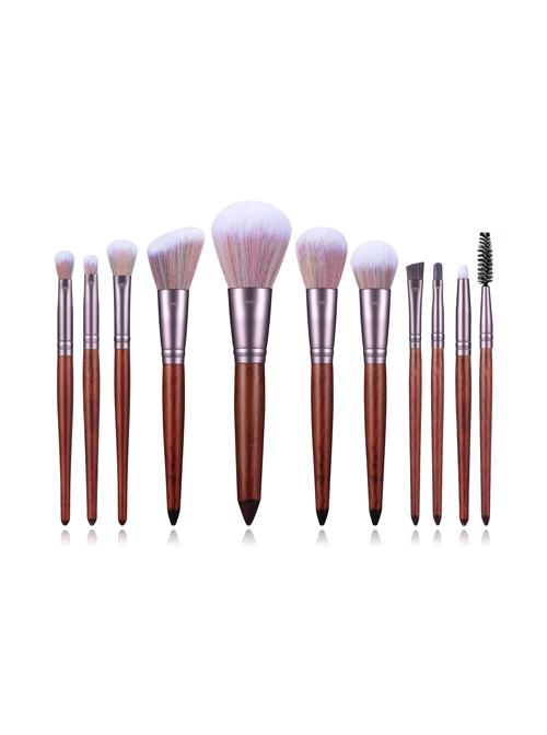 11 Sandalwood Color Makeup Brushes Eye Brushes Set With Mixed Color Bristles