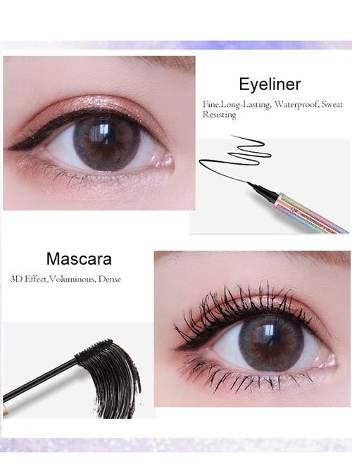 Beauty QIC Starry Waterproof Black Eyeliner Mascara Set