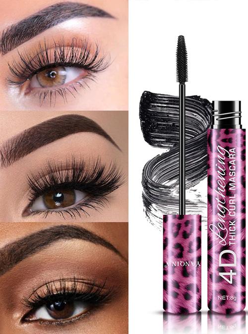 YANQINA Pink Leopard Print Tube Black Lasting Eyeliner Mascara Set
