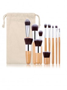 11 Bamboo Handle Makeup Brushes Linen Bag Set