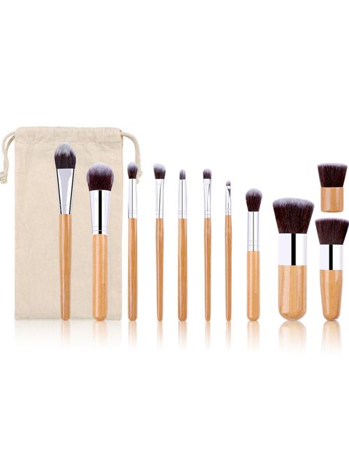 11 Bamboo Handle Makeup Brushes Linen Bag Set
