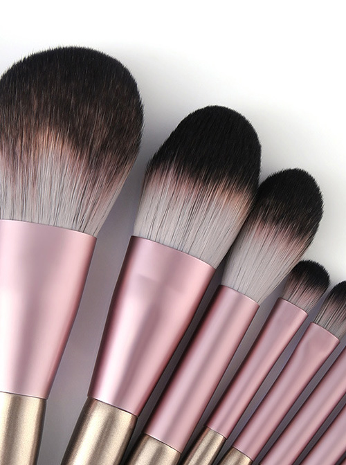 9 Small Pudding Champagne Purple Makeup Brushes And A Brush Bag Set