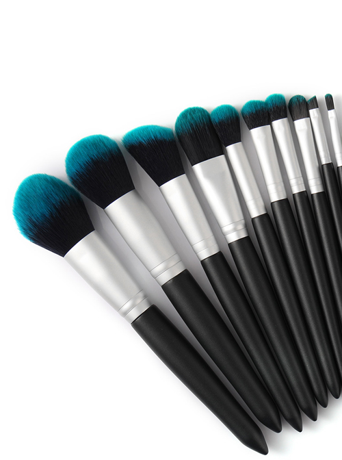 10 Blackish Green Makeup Brushes And A Firefly Brush Bag Set