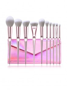 10 Pink Electroplating Handle Makeup Brushes And The Brush Bag Set