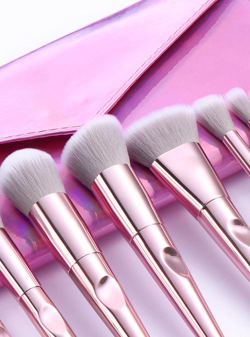 10 Pink Electroplating Handle Makeup Brushes And The Brush Bag Set