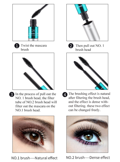 QIC Dense Curling Two In One Silver Tube Double Brush Head Double Effect Mascara