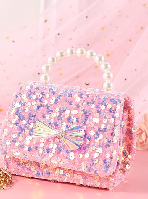 Sequin Bowknot Pearl Portable Messenger Children Chain Bag