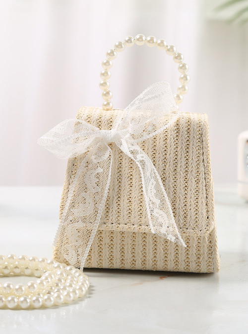 Simplicity White Lace Bowknot Pearl Portable Messenger Children Straw Weaving Bag