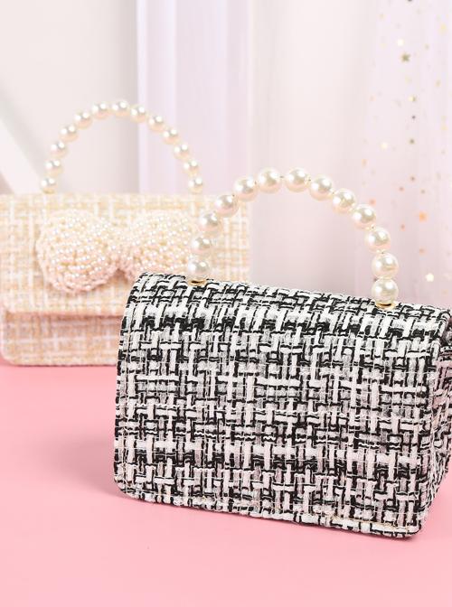 Pearl Big Bowknot Plaid Weave Portable Messenger Children Chain Bag