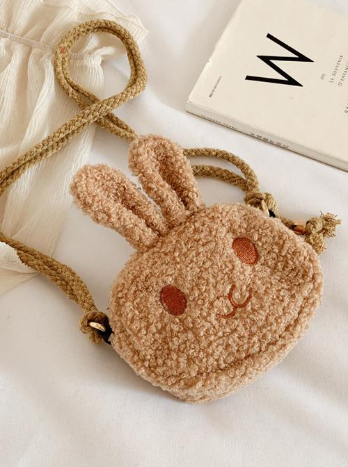 Cute Rabbit Shape Children Short Plush Shoulder Bag