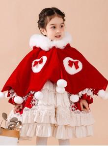 Baby Children Lolita Warm Hooded White Plush Collar Red Cloak