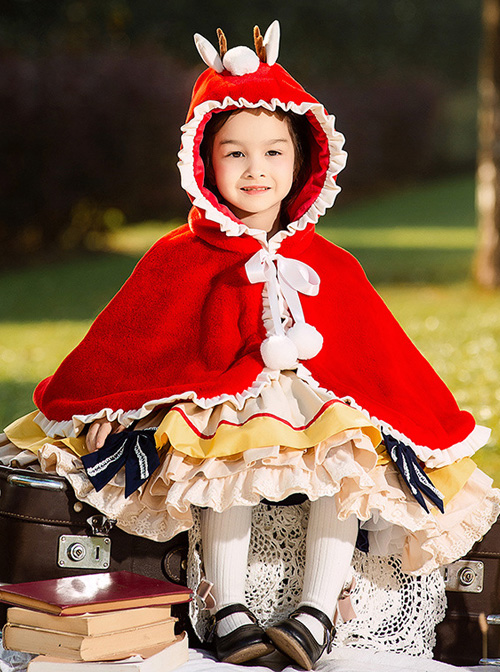 Baby Children Lolita Little Antlers Hooded Ruffle Red Warm Cloak
