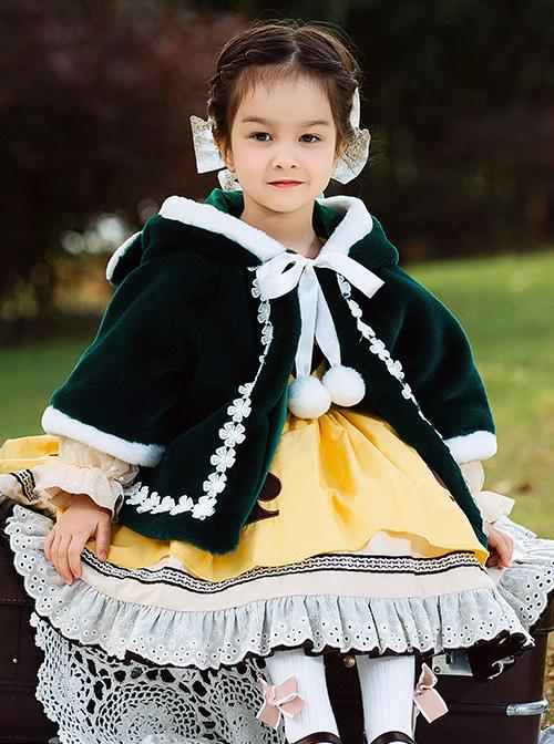 Baby Children Lolita Cute Warm Green Velour Hooded Cloak