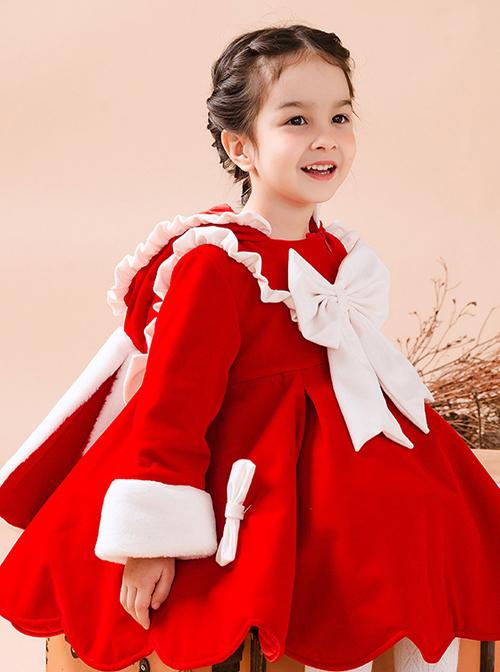 Baby Children Lolita Bowknot Rabbit Ears Hooded Red Warm Coat