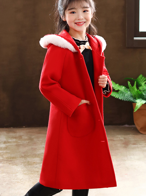 Children Autumn Winter Thickening Red Hooded Mid-length Coat