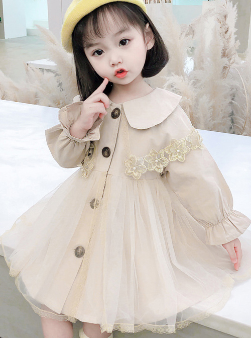 Cute Khaki Doll Collar Flower Lace Children Tulle Windbreaker