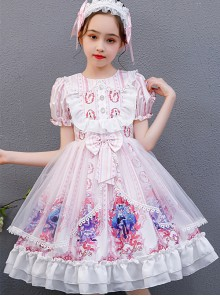Pink Cute Printing Doll Collar Children Sweet Lolita Short Sleeve Dress