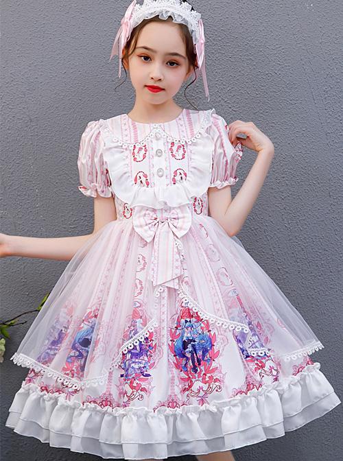 Pink Cute Printing Doll Collar Children Sweet Lolita Short Sleeve Dress