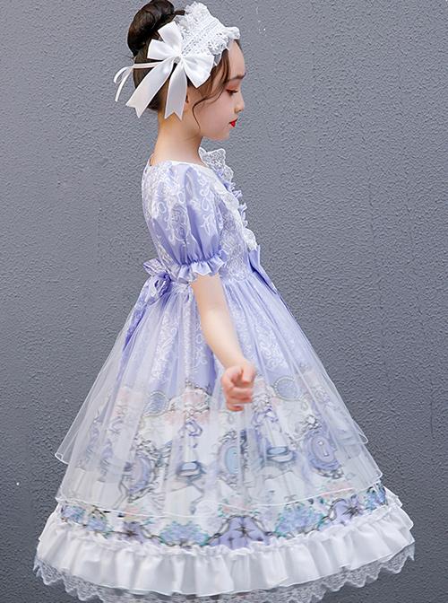 Purple Merry-go-round Printing Ruffle Children Sweet Lolita Short Sleeve Dress