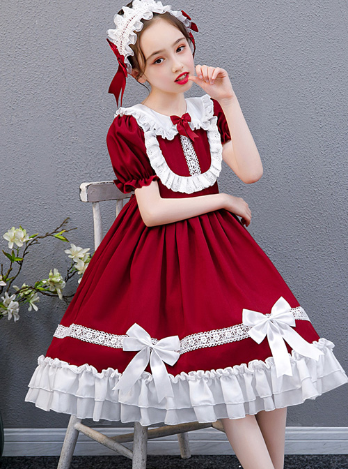 White Lace Doll Collar Wine Red Pure Color Children Lolita Short Sleeve Dress