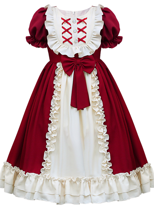 Red And Apricot Splicing Ruffled Children Classic Lolita Short Sleeve Dress