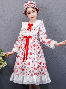 Strawberry Blueberry Printing Children Sweet Lolita Long Sleeve Dress