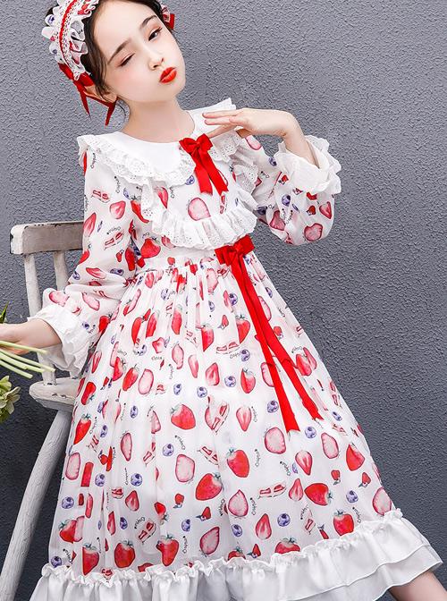 Strawberry Blueberry Printing Children Sweet Lolita Long Sleeve Dress