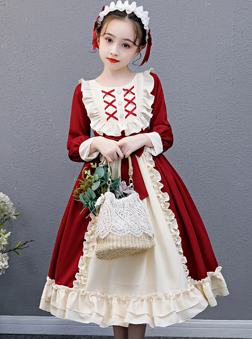 Red And Apricot Splicing Ruffled Children Classic Lolita Long Sleeve Dress