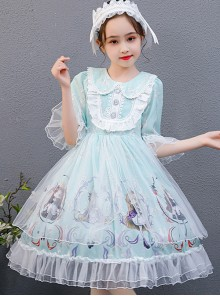 Cute Princess Doll Printing Children Sweet Lolita Half Sleeve Dress
