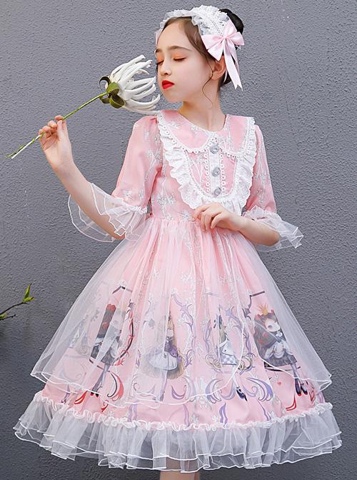 Cute Princess Doll Printing Children Sweet Lolita Half Sleeve Dress